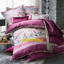 Yves Delorme Impression Floral Rubino Reversible King Duvet Cover Cotton New