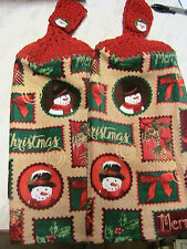 2 SNOWMAN, HOLLY, IVY red crochet top kitchen~bath hand towels-SANTA BUTTONS