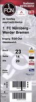 Ticket BL 2011/2012 1. FC Nürnberg - SV Werder Bremen