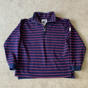 Lazy Jacks sweatshirt size Large navy blue red stripe striped 1/4 zip funnel