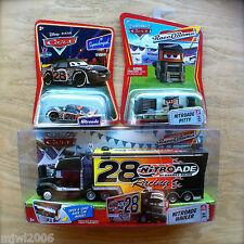 Disney PIXAR Cars NITROADE HAULER & RACER & PITTY No.28 diecast lot RACE O RAMA