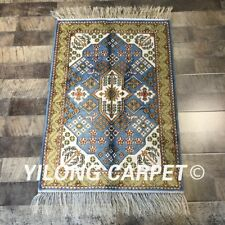 YILONG 2'x3' Hand Knotted Silk Area Carpets Handmade Turkish Rugs WY278C