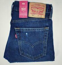 Levis 511 slim straight fit blue jeans 33x32 mens denim destructed distroyed A88