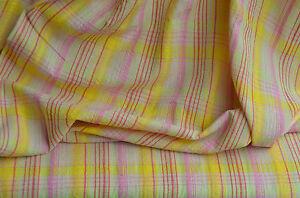 Seersucker-Karo Baumwolle gelb-grün-rosa 50 cm x 140 cm
