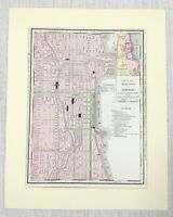 1901 Antique Map of Chicago Street Plan Illinois United States of America USA