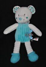 Peluche doudou ours blanc bleu NICOTOY chaussettes laine oiseau étiquettes NEUF