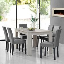[en.casa]® Esstisch Eiche weiß mit 6 Stühlen hellgrau 140x90 Tisch Stühle modern