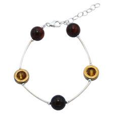 925 Silber Hämatit-Kreis Armband mit Bernstein in Kirsch- und Cognacfarbe Damen