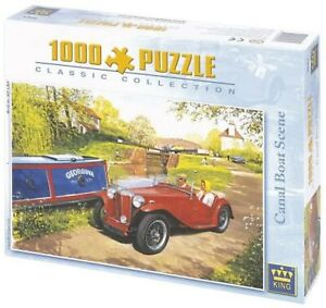 Classic Car Jigsaw Puzzle 1000 Piece Canal Boat Scene