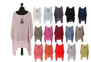 Women Ladies Lagenlook Plain Batwing Necklace Cotton Summer top Plus one size