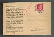 1943 Germany Auschwitz Concentration Camp Cover to Krakow Jerzy Mildner KZ