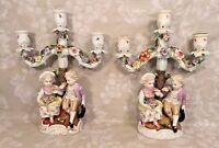 Antique Pair of Sitzendorf Porcelain Figural Candelabrums