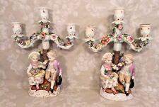 Antique Pair of Sitzendorf Porcelain Figural Candelabrums