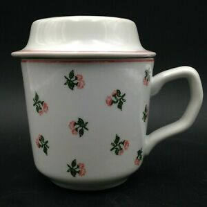 Pillivuyt Celine Tea Cup With Lid Pink Floral on White Ceramic Made in France