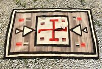"Native American Woven Rug Textile Large 56"" x 34"" Brown Cream Red Whirling Log"
