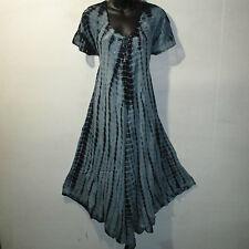 Dress Fits 1X 2X Plus Long Sundress Black Tie Dye Lace Sleeves A Shaped NWT 7601