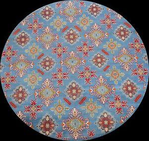 Vegetable Dye Geometric Super Kazak Oriental Area Rug Handmade Wool 7'x7' Round