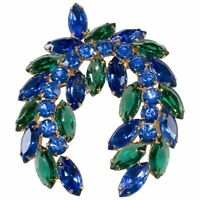 Brooch Pin Laurel Wreath with Blue and Green Rhinestones VTG 1960s Unmarked