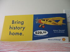 "Shell Bellanca ""Skyrocket"" Plane #2/Series Plastic Advertising Sign NOS 23x10"""
