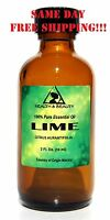 LIME ESSENTIAL OIL by H&B Oils Center AROMATHERAPY GLASS BOTTLE 2 OZ, 59 ml