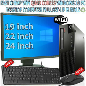 FAST CHEAP WiFi QUAD CORE i5 WINDOWS 10 PC DESKTOP COMPUTER FULL SET-UP BUNDLE