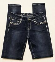 L.A. Idol USA Womens jeans size 3 skinny leg dark wash thick stitch flap pockets