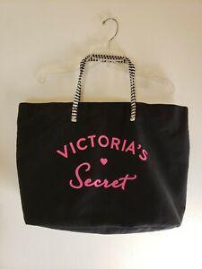 Victoria's Secret Tote Bag Black White Stripe Handles Pink Signature Large