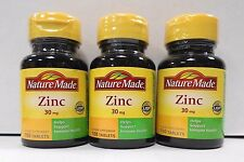 Nature Made Zinc 30mg 100ct Tablets- 3 Pack -Expiration 09-2021-
