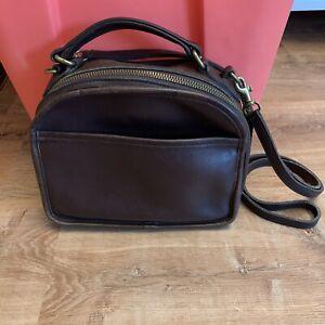 Vintage Coach Lunch Box 9991 Mahogany Leather Crossbody Bag