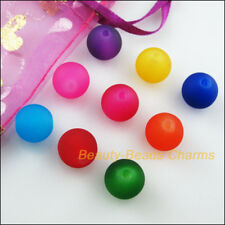 20Pcs Mixed Acrylic Plastic Round Smooth Loose Spacer Beads Charms 12mm