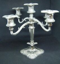 Antique Vintage Art Deco Silver Plated 5 Sconce Candelabra - Made in England