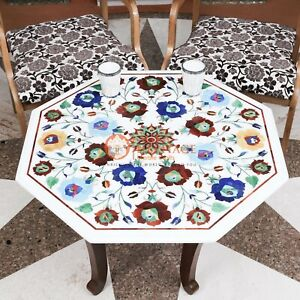 White Marble Restaurant Top Table Lapis Multi Stone Floral Maruqtery Home Decor