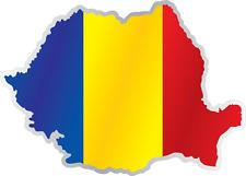 "Romania Country Flag Map Car Bumper Window Mirror Sticker Decal 5""X4"""