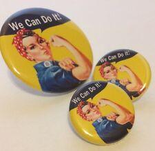 Rosie the Riveter SET OF 3 PINBACK BUTTONS pin badges girl power feminist agenda