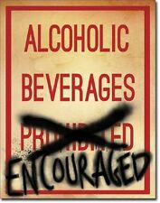Alcoholic Beverages Encouraged Beer Street Humor Wall Bar Decor Metal Tin Sign