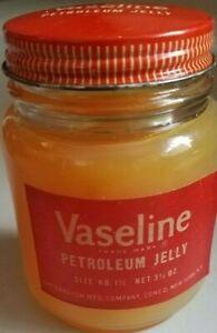 Unique Vintage Vaseline petroleum jelly glass jar red label NOS never opened