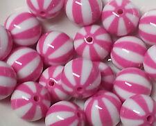 20pcs 20mm Hot Pink Resin Watermelon Bubblegum Chunky Beads