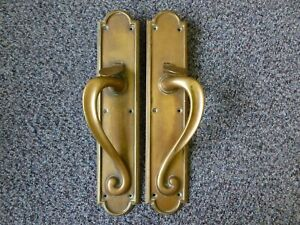 "Antique Art Nouveau Solid Brass Door Pull Handles with Latches Height 13.5"" inch"