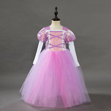 Childrens Girls Tangled Rapunzel Princess Dress Halloween Costume Cosplay O106