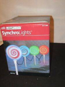 Synchro Lights TESTED Peppermint  Candy Christmas Lightshow LED w/ Stakes (FF555