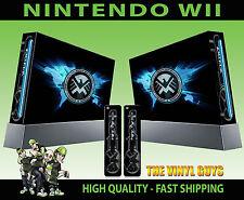 NINTENDO Wii ADESIVO SCUDO LOGO agenti MARVEL Decalcomania Grafica SKIN e 2 SKIN PER PAD
