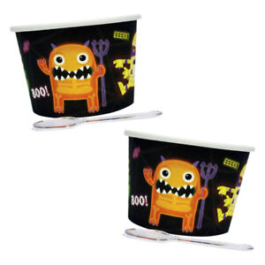12 Halloween Boo Crew Disposable Party Paper Dessert Pots Cups & Spoons