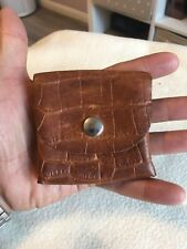 Very Small Gentlemans Brown Leather And Silver Stud Coin Wallet.