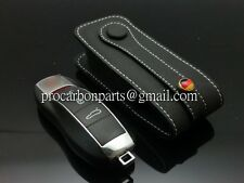 Black with White Line Leather Key case for Porsche MACAN GTS  981 Panamera