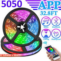 32.8 ft RGB 5050 WiFi Led Strip Lights SMD 24/44 Key Remote 12V Power Kit IP65
