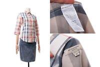 Women's BURBERRY London Long Sleeve Shirt Dress Plaid Metallic Fibers Size S