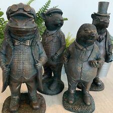Heavy Resin Cast Iron Style Garden Figurine Ornament Mr Ratty Toad Badger Mole