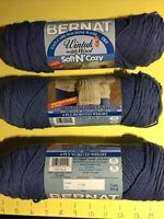 Yarn Bernat Four Ply Worsted 75% Acrylic 25% Wool 3oz 85gr Blue Nine Skeins