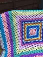 New large Handmade crochet Granny Square Blanket/ Throw 45 inch for campervan
