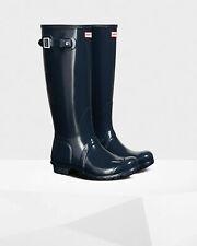 Hunter Women's Original Tall Gloss Waterproof Rain Boots Navy, Pick A Size NEW